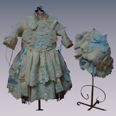 Gorgeous Embroidered Pure Silk Dress w/ Petticoat and Bonnet