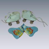 Vintage Dolly's Roller Skates original box w/ Knit Dolbooties orig Label