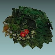 Wonderful Green Straw Hat w/ antique beaded flower for french Bebe