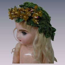 Gorgeous Green Straw Hat for cabinet sized french Bebe doll