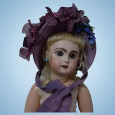 Beautiful Lilac Soft Straw Hat w/ millinery flowers for french Bebe doll