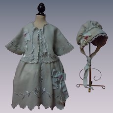 Antique Embroidered Dress Jacket w/ Bonnet for huge german french bisque doll