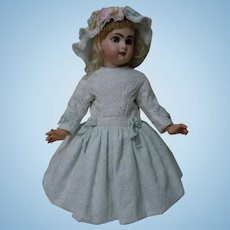 Beautiful Cotton Eyelet Floral Embroidery Dress w/ Petticoat  and Cap