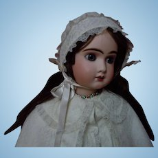 All Original Mid Century Lace Cape and Bonnet for german french huge bisque doll