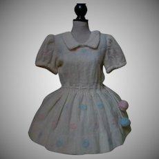 Lovely All Original old woolen dress for huge antique bisque  doll
