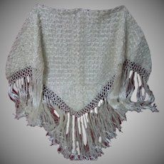 Gorgeous Vintage Wedding Bridal Shawl wool pure silk Fringe