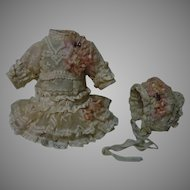 Exquisite tiny french Bebe Couturier Dress w/ Petticoat and Hat