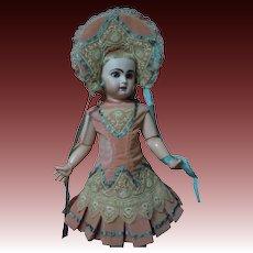 Gorgeous Coral Velvet Couturier Costume Dress Jacket Hat for antique doll