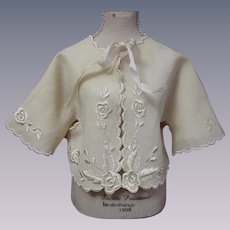 All Original Antique 19th century hand embroidered baby Jacket for bisque doll