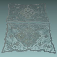 "Two Antique Hand Made Filet Lace Doilies 13,5"" x 8,5"""