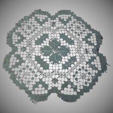 "Antique Hand Made Filet Lace Doily 10"" diameter"