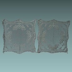 "Two Exquisite Antique Hand Made Filet Lace Doilies 14"" x 14"""