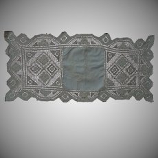 """Antique Hand Made Filet Lace Doily Runner embroidery panel 27"""" x 12"""""""