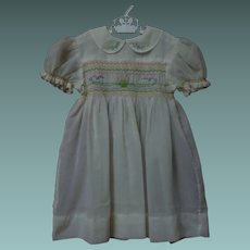 All Original Mid Century hand smocked Dress for huge antique bisque doll