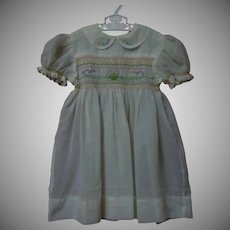 All Original Mid Century hand smocked Dress for huge antique bisque doll