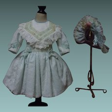 Beautiful Cotton Eyelet Embroidery Dress w/ Petticoat  and Cap
