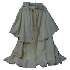 Antique Cape Bonnet floral arabesque Embroidery for german french huge bisque doll