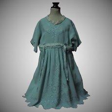 Wonderful Embroidered Dress Slip Bonnet for huge german french bisque doll