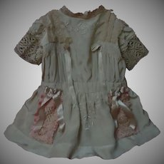 Embroidered Taffeta Dress w/ Petticoat Slip Bonnet Set