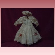 Gorgeous Muslin Dress w/ Petticoat and Cap for antique cabinet sized doll