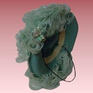 Beautiful turquoise Hat w/ ethereal Aquamarine Feathers