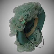 Beautiful turquoise Hat w/ ethereal Aquamarine Feathers