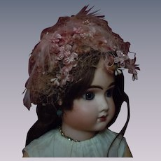 Beautiful Headdress Rose Feathers Orange Blossom flowers for huge antique doll