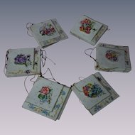 Exquisite Set 32 miniature fold greeting cards gild threads Printed in Germany