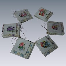 Exquisite Set Old cardboard Box w/ 32 miniature fold greeting cards gild threads Printed in Germany