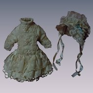 Wonderful Pure silk tiny french Bebe Dress w/ Petticoat and Hat