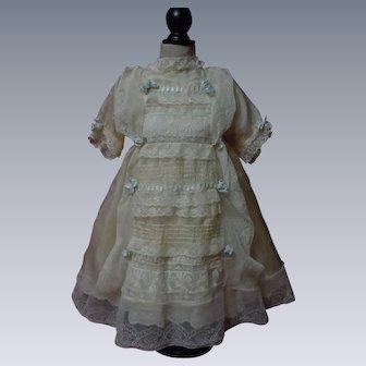 Exquisite Antique Set pure silk Dress and Bonnet w/ Batiste full Slip
