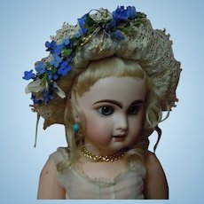Beautiful blue aqua soft straw Hat w/ net lace and forget me nots