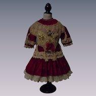 Gorgeous Red Velvet Sequins Star Ribbon Embroidery French Bebe Dress