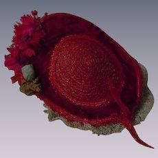 Gorgeous Red Velvet Soft Straw Hat for french bebe doll