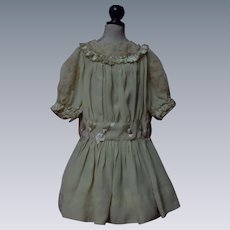 Charming Brass Tone Color Taffeta Dress and Cap for Huge  Bisque Antique Doll