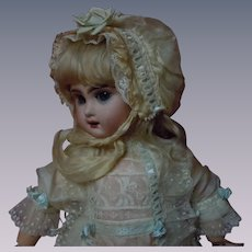 "Exquisite pure silk Dress Antique Bonnet Set for 18"" to 21"" french bebe doll"