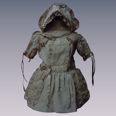 Wonderful Embroidery Taffeta Set Dress w/ Petticoat Slip Bonnet