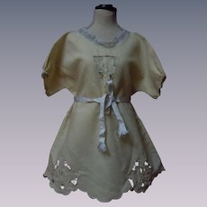 Antique Embroidered Flannel Dress for german french bisque doll