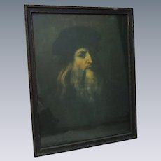Leonardo da Vinci Self Portrait Color Photography wood framed glass covered  Firenze Italia