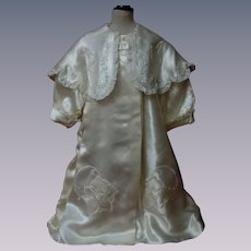 """Exquisite Embroidered Silk Satin Coat for 27"""" to 38"""" huge doll"""