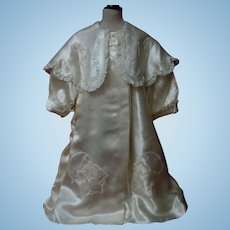 "Exquisite Embroidered Silk Satin Coat for 27"" to 38"" huge doll"