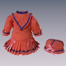 Wonderful tiny Coral Dress w/ Petticoat Beret for antique Bleuette cabinet sized doll