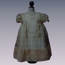 "Beautiful Organza Dress Linen Slip for 25"" to 27"" huge doll"