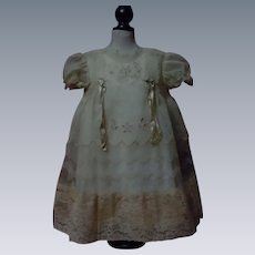 "Beautiful Organza Dress Linen Slip for 25"" to 27"" huge doll"
