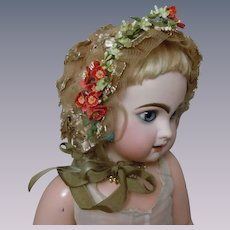 """Wonderful soft straw Hat for 23"""" to 27"""" antique doll"""