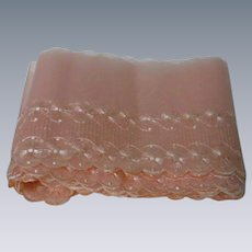 "Vintage Embroidery Salmon Organza Trim 7"" width total 7 Yards doll Dressing Supplies"