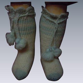 Antique pair wool Booties w/ pompons