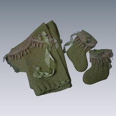 Lovely Set Wool Sweater Booties for antique doll or Bear