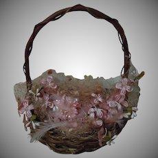 Charming Wicker Basket w/ Millinery Rose Tulle Orange Blossoms for huge antique doll