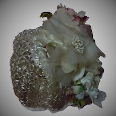 """Gorgeous soft straw Rose Pansies Hat for 25"""" to 29"""" antique doll"""